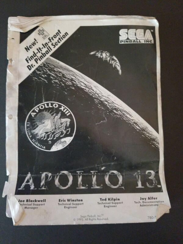 Original Sega Apollo 13 Pinball Owners Manual 1995