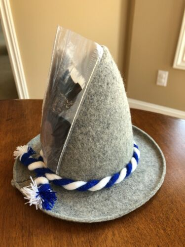 Grey German Bavarian Felt Hat With Feathers and Rope