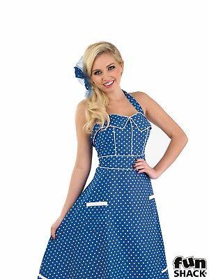 1950's Blue Dress Adult Fancy Dress Costume 50's style spots design Doris Day (Designer Fancy Dress Kostüme)