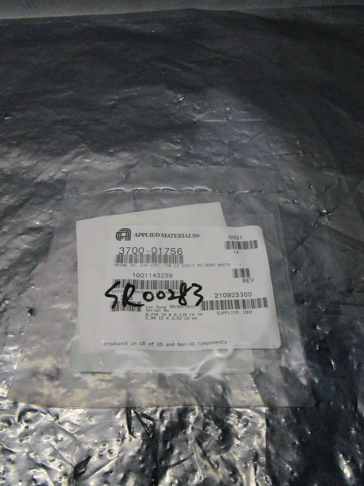 AMAT 3700-01756 Oring ID .234 CSD .139 CZ SC513 80 Duro White,TEL SR00283,101308