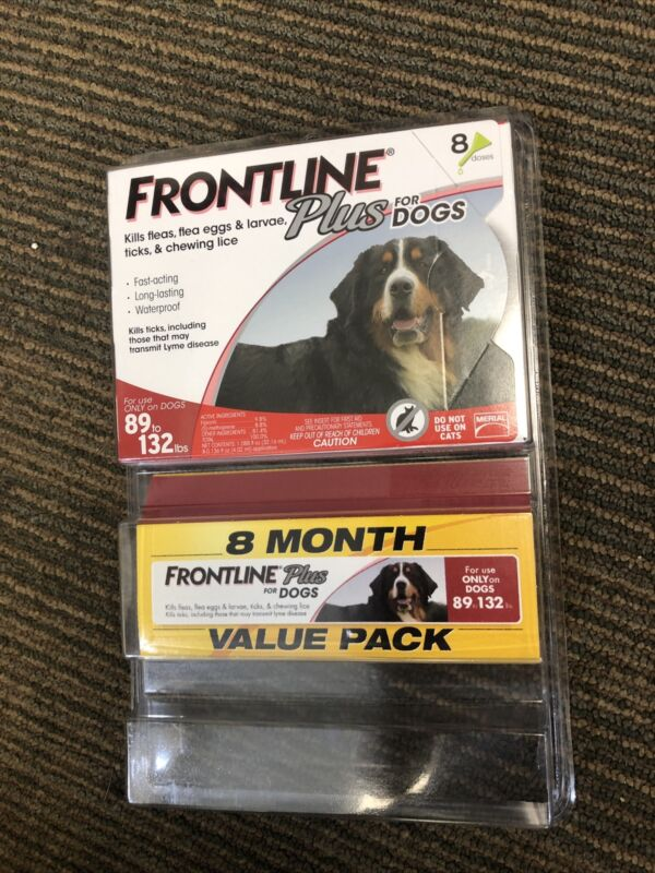 Frontline Plus Dog Value Pack Flea and Tick Treatment 89-132LBS LARGE - 8 Doses