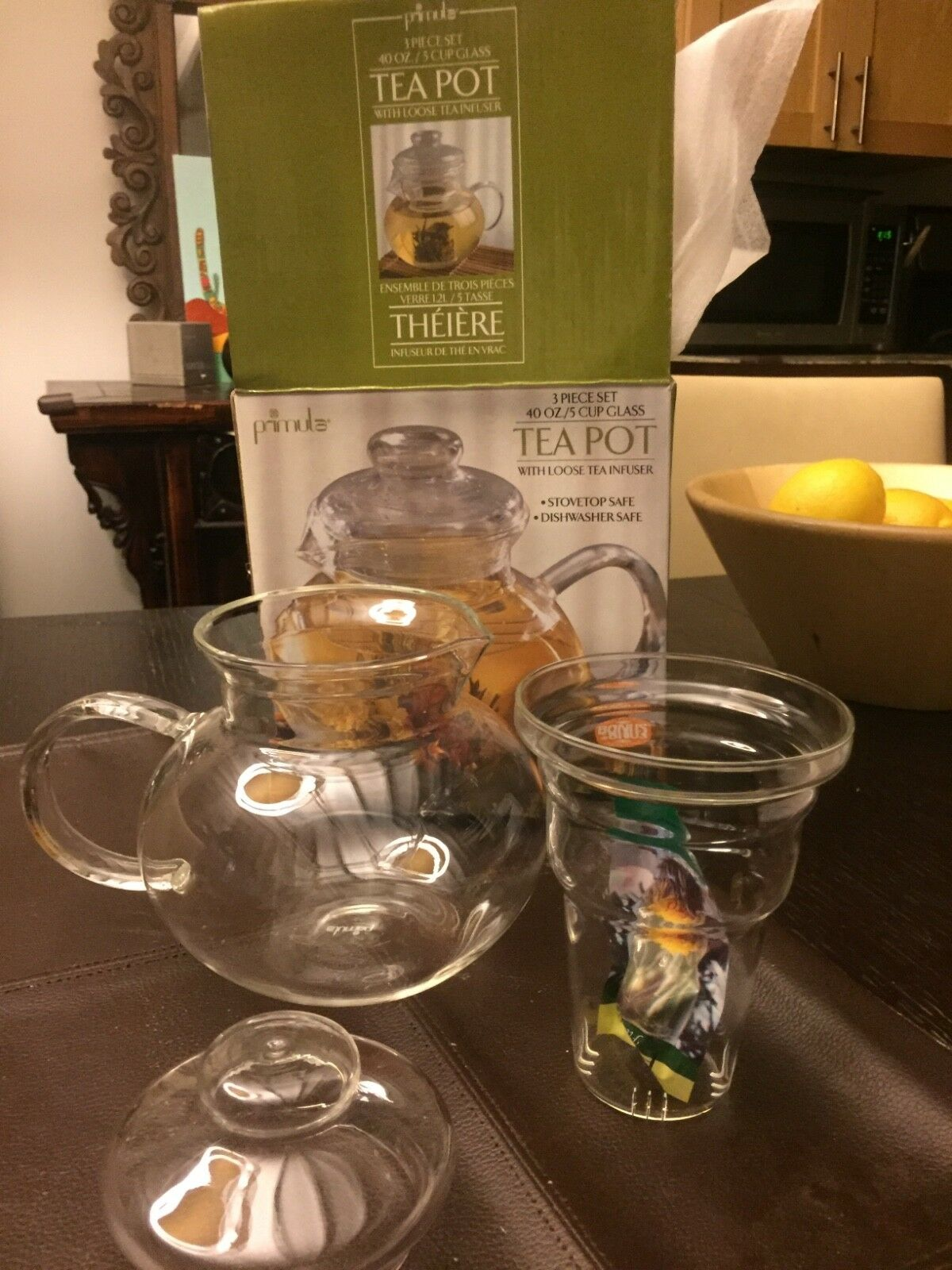 Primula Blossom 40 oz Glass Teapot Gift Set - Includes Infus