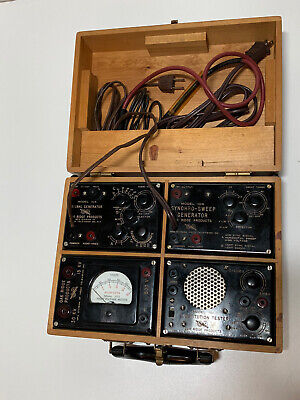 Vintage Oak Ridge Products Set In Wood Case - Signal Sync Generator Tester