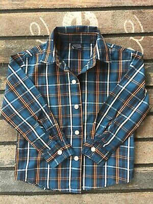 NAUTICA Size 2T Toddler BOYS DRESS UP Blue Brown SHIRT LONG SLEEVE BUTTON DOWN