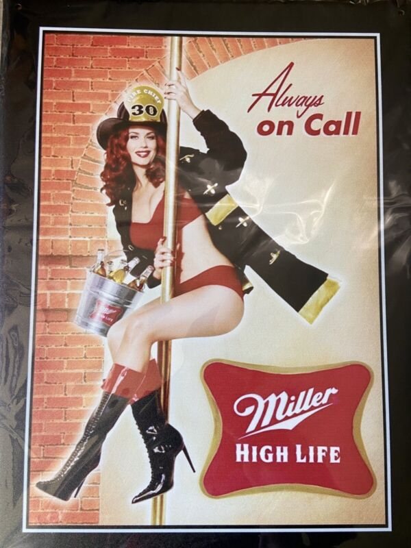 "12""x16"" Miller High Life ""Always On Call"" Firefighter Girl"