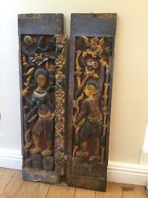 Asian Thai hardwood teak painted antique window shutter panels