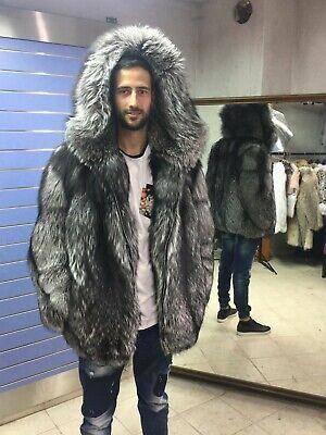 Luxury Full Skin Silver Fox Fur Mens Coat Real Fur Jacket Big Hood Silver Fox