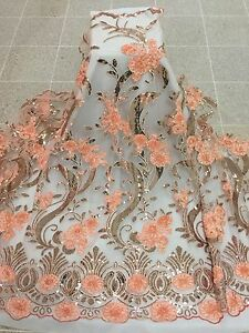 PEACH/GOLD/SILVER METALLIC EMBROIDERY SEQUIN MESH LACE FABRIC 50