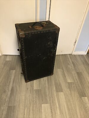 Vintage Plywood OVERPOND Foundation Travel Trunk Old With Patina
