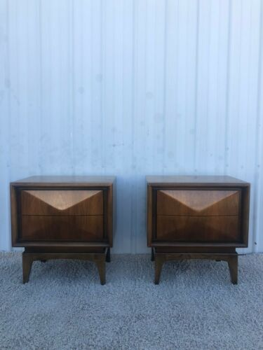 Mid Century Modern iamond Front Nightstands by United Furniture - A Pair