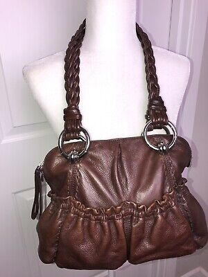 B Makowsky Large Brown Leather Handbag Hobo Shoulder Bag Braided Handles Boho