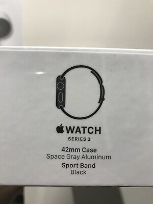 Apple Watch Series 3 42Mm Space Gray Aluminium Case With Black Sport Band  Gps