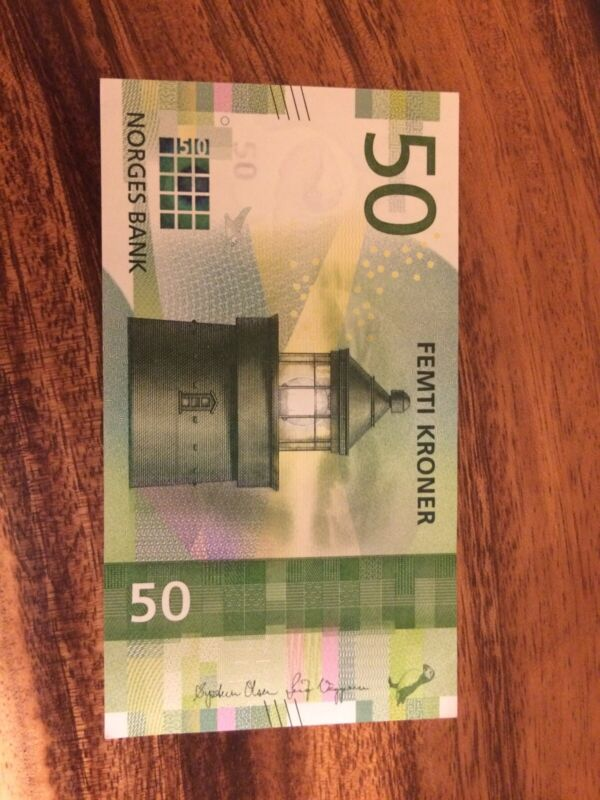 Norway, 50 Kroner, New Unc 2017 (2018) Krone Banknote, Good Condition, Norwegian
