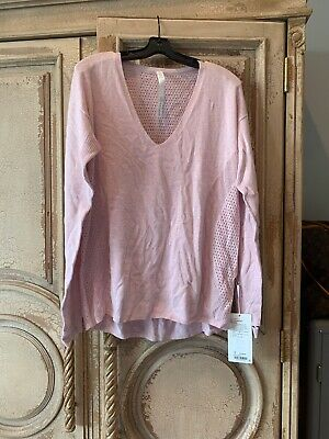 NWT Lululemon Still Movement Sweater Linen Blend Butter Pink V Neck 10 $138