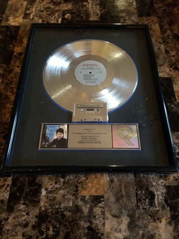 ICE CUBE RIAA PLATINUM SALES AWARD PLAQUE LP 💿 Presented to TAZ 💯 RARE💎📈NWA