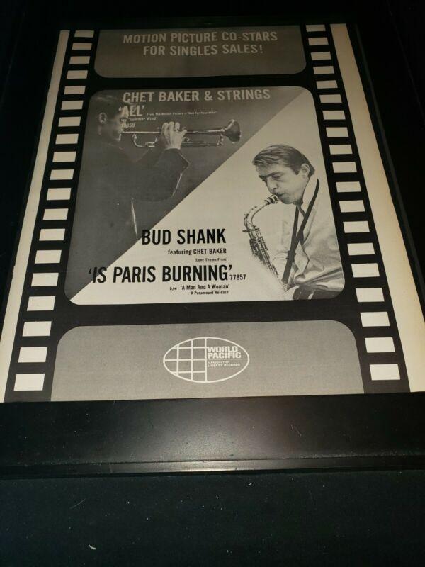 Chet Baker/Bud Shank Rare Original Promo Poster Ad Framed!
