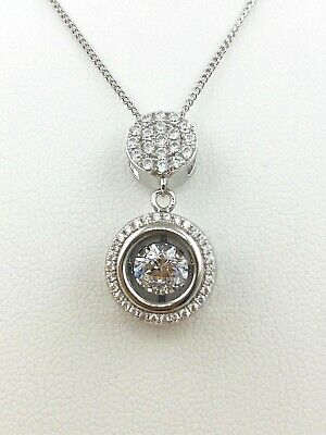 Sterling Silver Double Circle Halo Necklace With Dancing Diamond Design Diamond Double Circle Ring