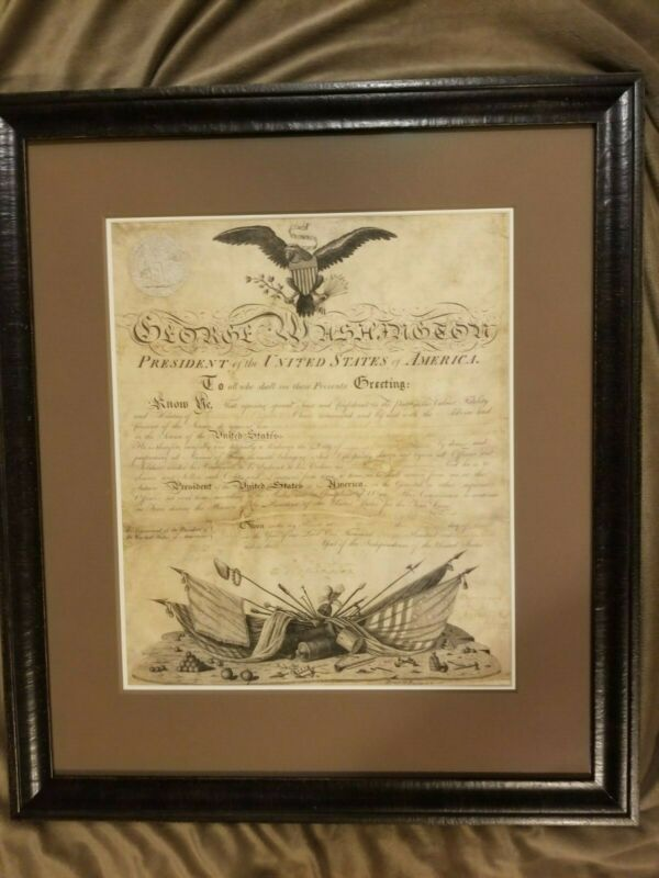 George Washington military commission, signed as president archival preservation