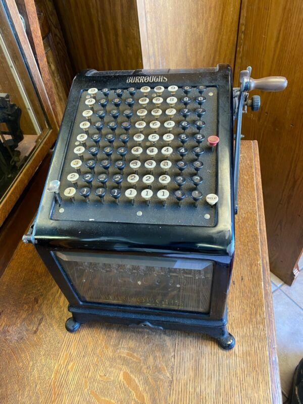 Antique Burroughs Adding Machine with Beveled Glass Sides And Front
