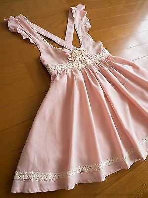 LIZ LISA Corset Tie Apron JSK Jumper Dress Japan Size M Romantic Lolita Hime Gal