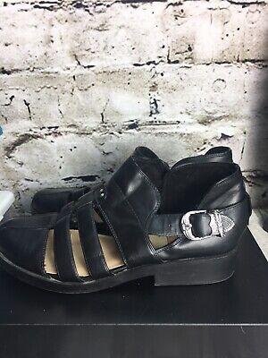 BERSHKA Sz 10/40 Black Silver Buckle Closed Toe/heel Sandal Strap Leather Shoes na sprzedaż  Wysyłka do Poland