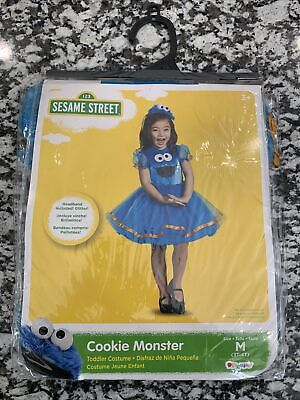 New Sesame Street Cookie Monster Dress-Up Play Costume Size Med 3T-4T Halloween