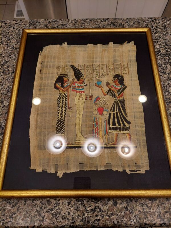 "Egyptian Framed Art Nefertari Hand-painted on real papyrusGold Paint 21 x 17.5"""