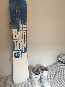 Burton 158 Elite snow board, 10.5 boots with bindings and helmet