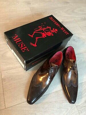 Jeffery West MUSE Mens Formal Brown Polished Leather Lace Shoes Size 10 RRP £205