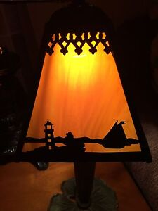 Vintage Slag Glass Shade Metal Lamp