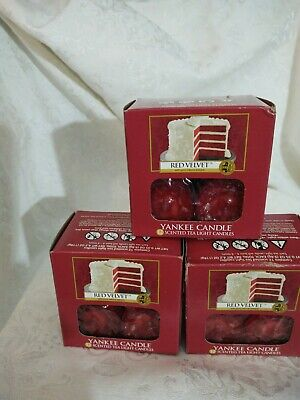 Yankee Candle Red Velvet Tealights Set of 3 NEW Boxes 12 Per Box VHTF