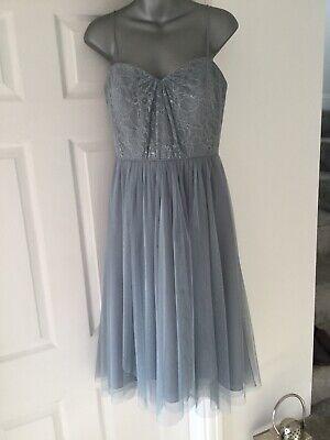 Stunning Dress Size 10 Cocktail, Cruise, Wedding Guest Chiffon Lace Grey