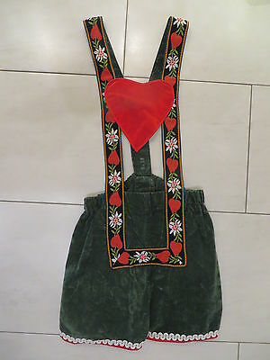 Damen Kostüm Karneval Fasching kurze Trachtenhose mit Herzen Oktoberfest - Gr 40