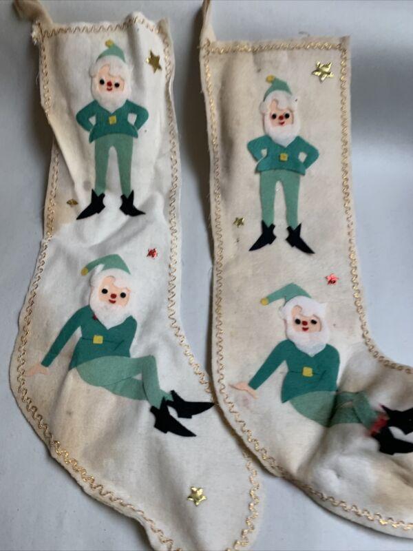 "2 Vintage Christmas Felt Stocking with Santa / Elf Japan 16""         #A"