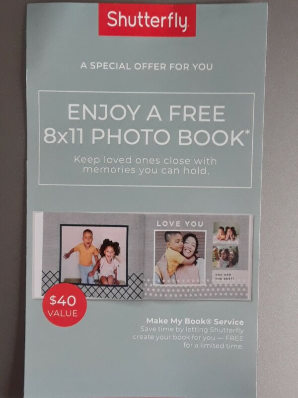 Shutterfly Code 8x11 Hardcover Photo Book $40 Value E-delivery Exp 6/30/21
