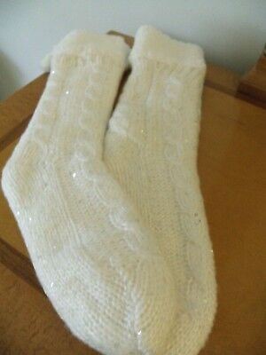 Womens Fuzzy Winter Knee High Socks With Silver Sequence NWOT ()