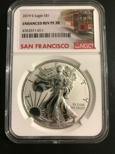 2019 S Silver Eagle ENHANCED REVERSE Proof PR 19XE with OGP COA NGC PF70