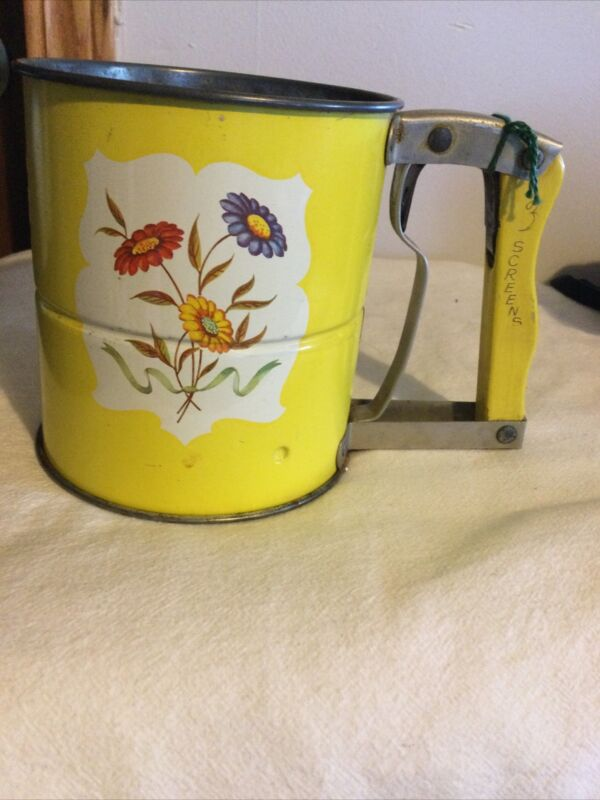 Vintage Androck Hand-Sifter Made In USA 3 Screens/Yellow Floral Enameled