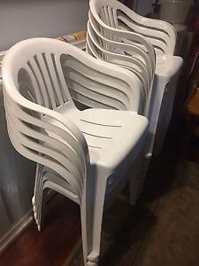12 resin plastic lawn chairs .  50$ for the set .