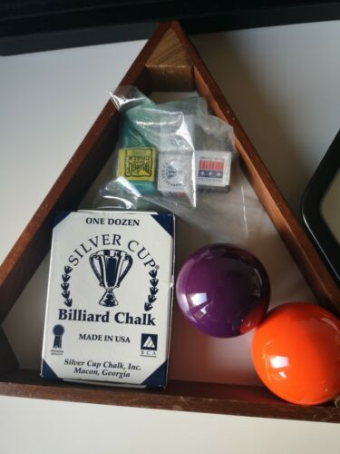 SNOOKER PLUS BALLS (ORANGE and PURPLE) 52.3  + TRIANGLES and CHALK (GREAT CONDITION)