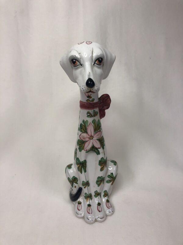 Italian Ceramic Pottery Greyhound Dog Figurine, Mid Century Modern, 1960s
