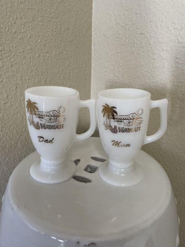 Vintage Hawaii Milk Glass Pedestal Mugs Mom & Dad Diamond Head Surfing Waikiki