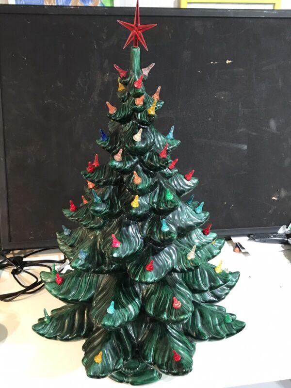 """Vintage Atlantic Mold CERAMIC CHRISTMAS TREE Multi-Color Lights Large 24"""""""
