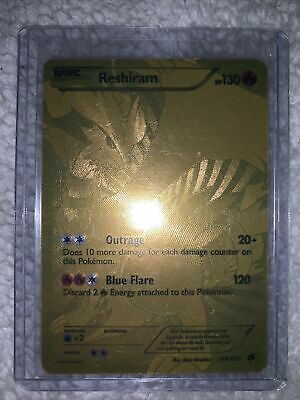 Pokemon Cards Reshiram Gold Secret Rare 114/113 Full Art Legendary FREE SHIPPING
