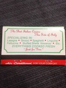 Vincenzo's Italian Matchbook Thunder Bay Windsor Region Ontario image 2