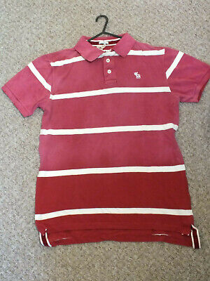 Abercrombie & Fitch Polo Shirt LARGE RED/WHITE Stripes NEW with TAGS