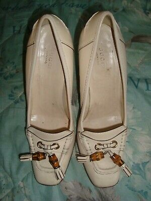 GUCCI  UK 4 EU 37 IVORY Leather shoes RRP £595.00, used for sale  Shipping to South Africa