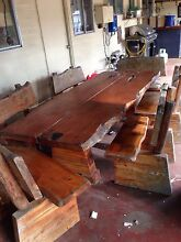 Solid Wood Slab Table & Chairs- 12 Seater- Bush Furniture Marsden Logan Area Preview