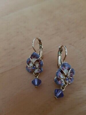 Kirks folly earrings pansy with purple stone