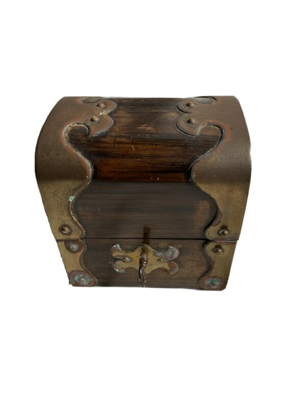 Medicine Bottle Storage Box Vintage Brass bound Mahogany